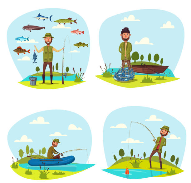 fisher man fishing vector big fish catch - seehecht stock-grafiken, -clipart, -cartoons und -symbole