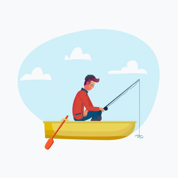fisher-mann mit angelrute in das boot saison angeln. vektor-cartoon-figur in den urlaub, reise. abbildung. flache design-stil - angelurlaub stock-grafiken, -clipart, -cartoons und -symbole