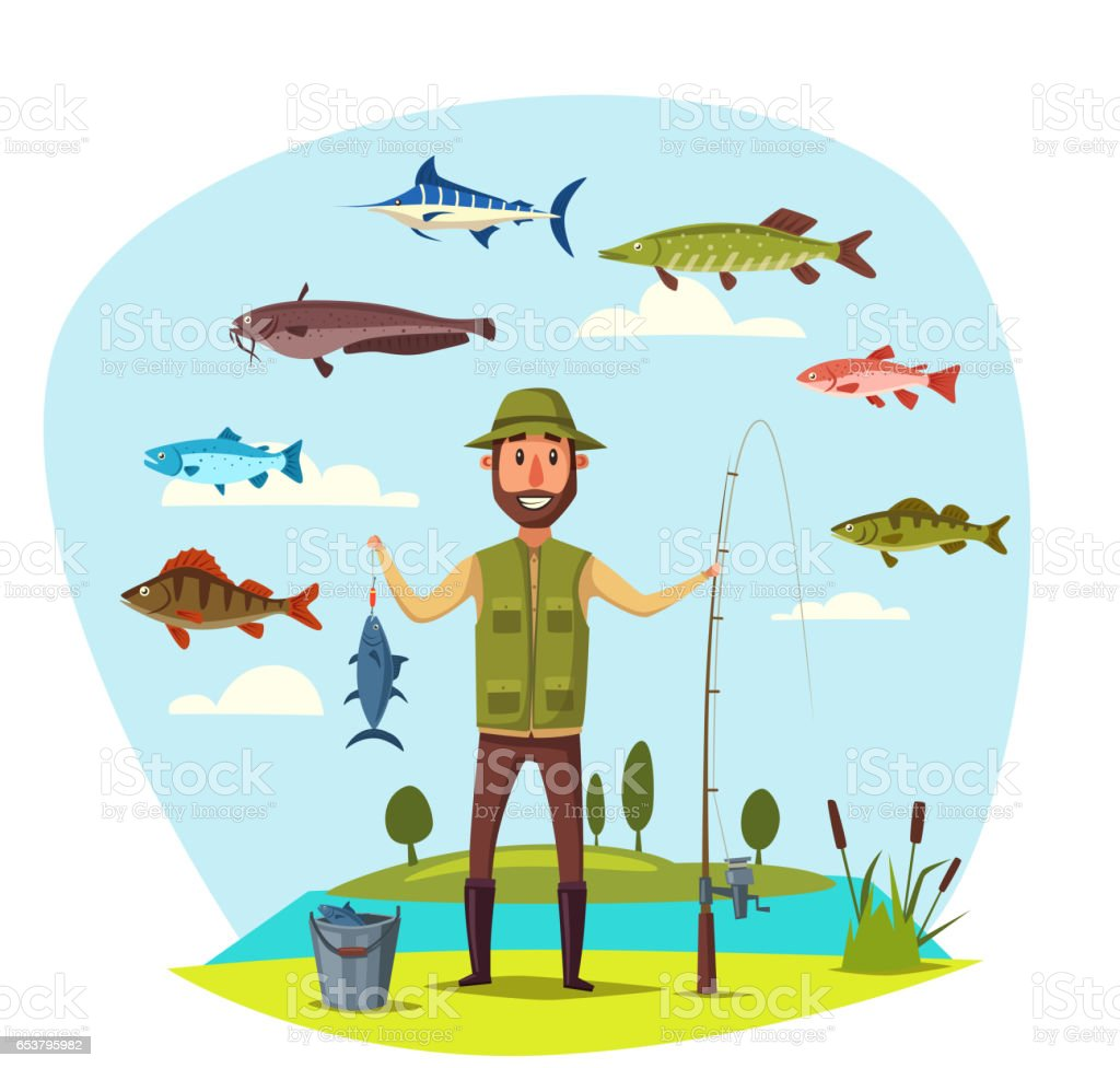Fisher man with fish catch vector fishing vector art illustration