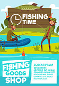 fishing goods shop or store poster of fisher men with rod in rubber boat at lake or river. Vector cartoon design of fisherman tackles and equipment for big fish catch