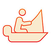Fisher on vessel flat icon. Man cath fish on fishing rod orange icons in trendy flat style. Boat with fisherman gradient style design, designed for web and app. Eps 10