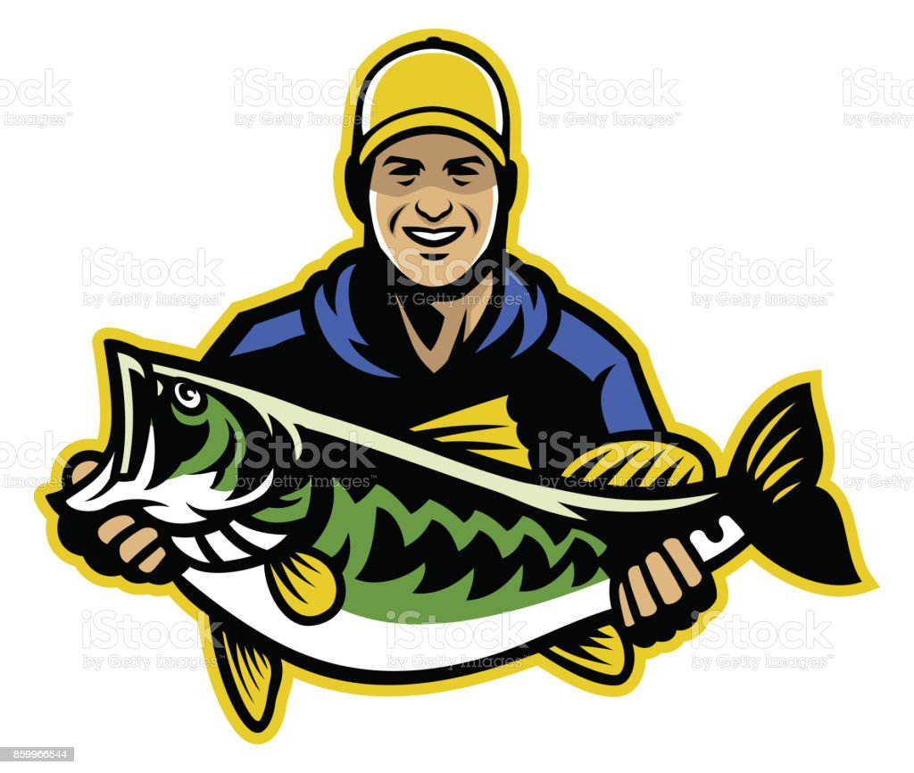 Fisherman and big catch of largemouth bass fish vector art illustration