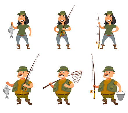 Fisherman and female angler in different poses.