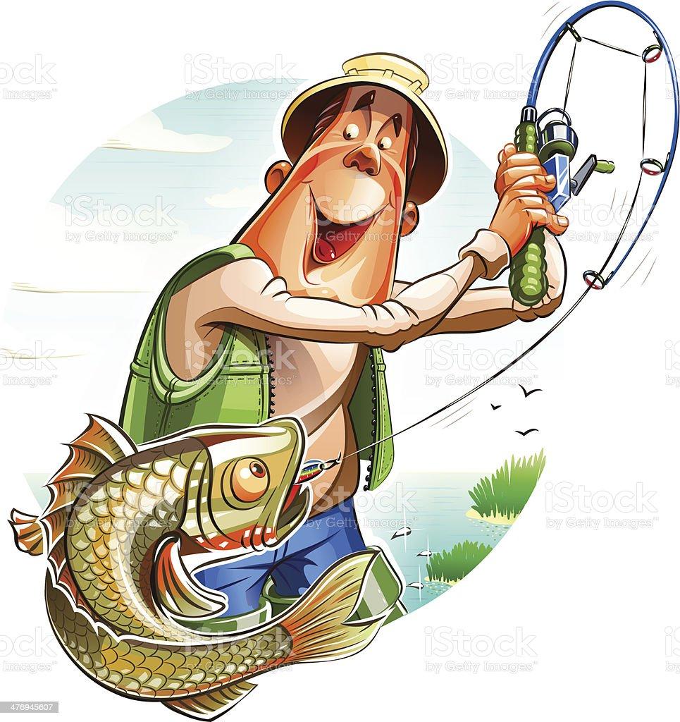 Fisherman and fish vector art illustration