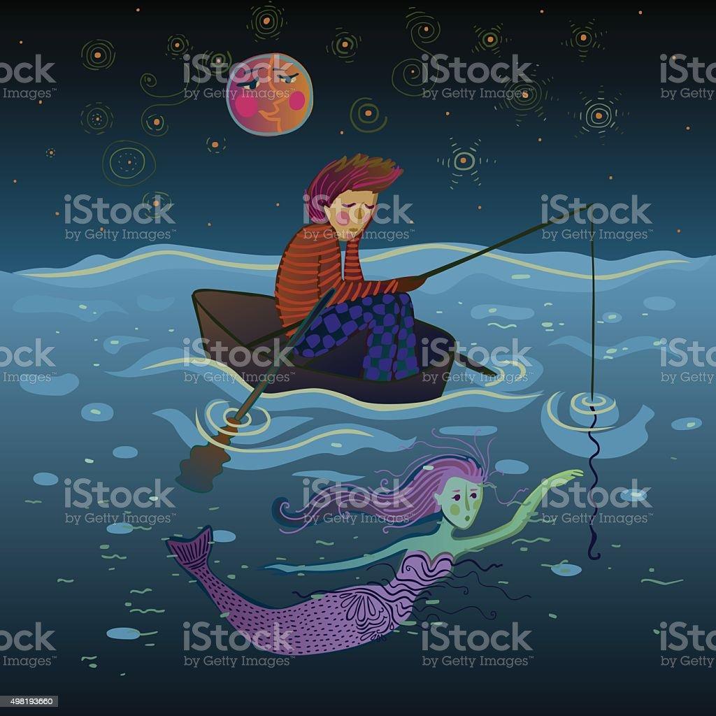 fisherman and mermaind under the moon vector art illustration