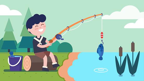 Fisherman boy sitting on log at river bank & holding fishing rod with fish on hook. Child enjoying fishing. Smiling kid cartoon character. Summer recreation & nature. Flat vector illustration