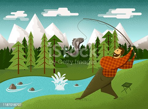A man went into the nature and has just caught a big fish from a river in the forest. Drawn in a simplified mid-century graphic style.