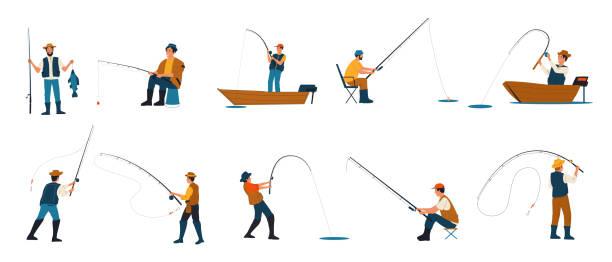 rybak. kreskówek ludzi połowów. postacie łowiące ryby prętami stojące nad brzegiem jeziora i siedzące na składanych krzesłach lub z łodzi. męskie hobby. rozrywka rekreacyjna wektora - rybactwo stock illustrations