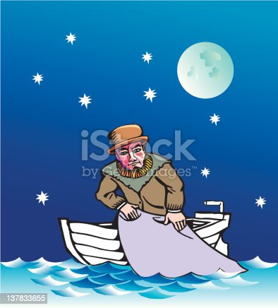 fisherman on the little boat with fishing net cartoon