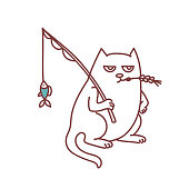 Fisherman cat with fishing rod and fish catch serious farmer cat funny doodle sketch vector illustration isolated on white background