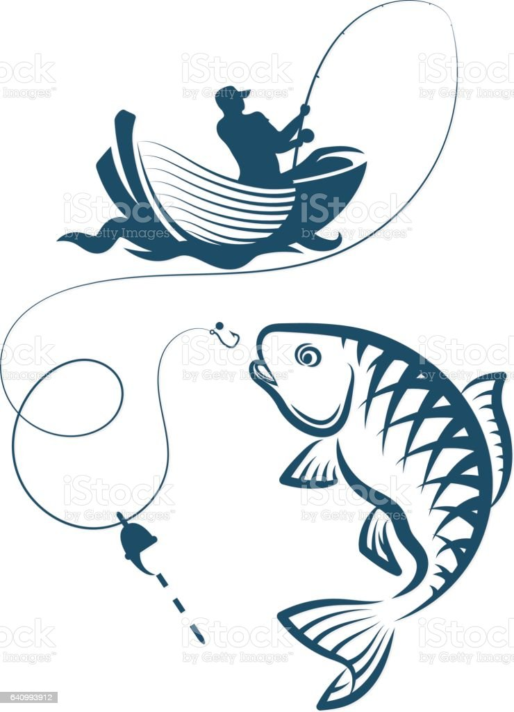 Fisherman catches a fish vector art illustration