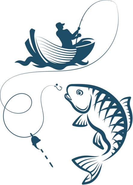 一連の魚の釣り - 漁師点のイラスト素材/クリップアート素材/マンガ素材/アイコン素材