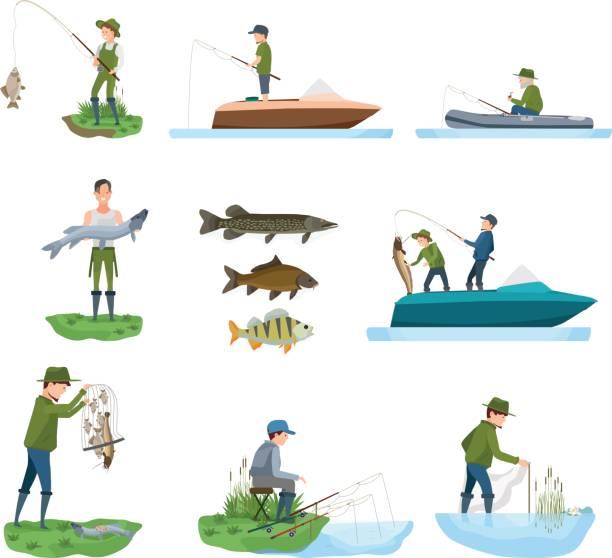 魚の種類、ボートの海岸から漁師の漁獲の魚がキャッチを示しています - 漁師点のイラスト素材/クリップアート素材/マンガ素材/アイコン素材