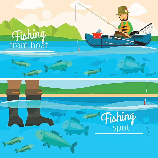 Fisherman catching fish at lake vector art illustration