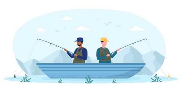 Fisherman catching fish on small boat