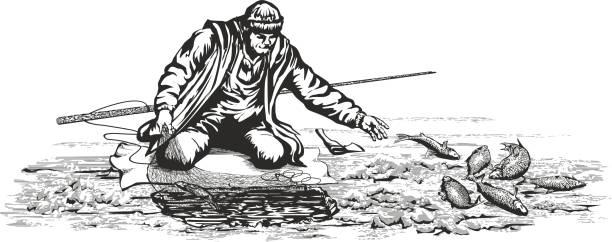 bildbanksillustrationer, clip art samt tecknat material och ikoner med fiskaren kontroll nätverk. - isvak
