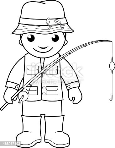 Black and white outline image of fisherman with a rod