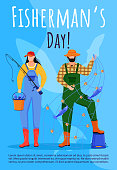 Fisherman day poster vector template. Fishing. Professional holiday celebration. Brochure, cover, booklet page concept design with flat illustrations. Advertising flyer, leaflet, banner layout