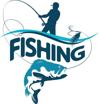 Fisherman draws fish silhouette