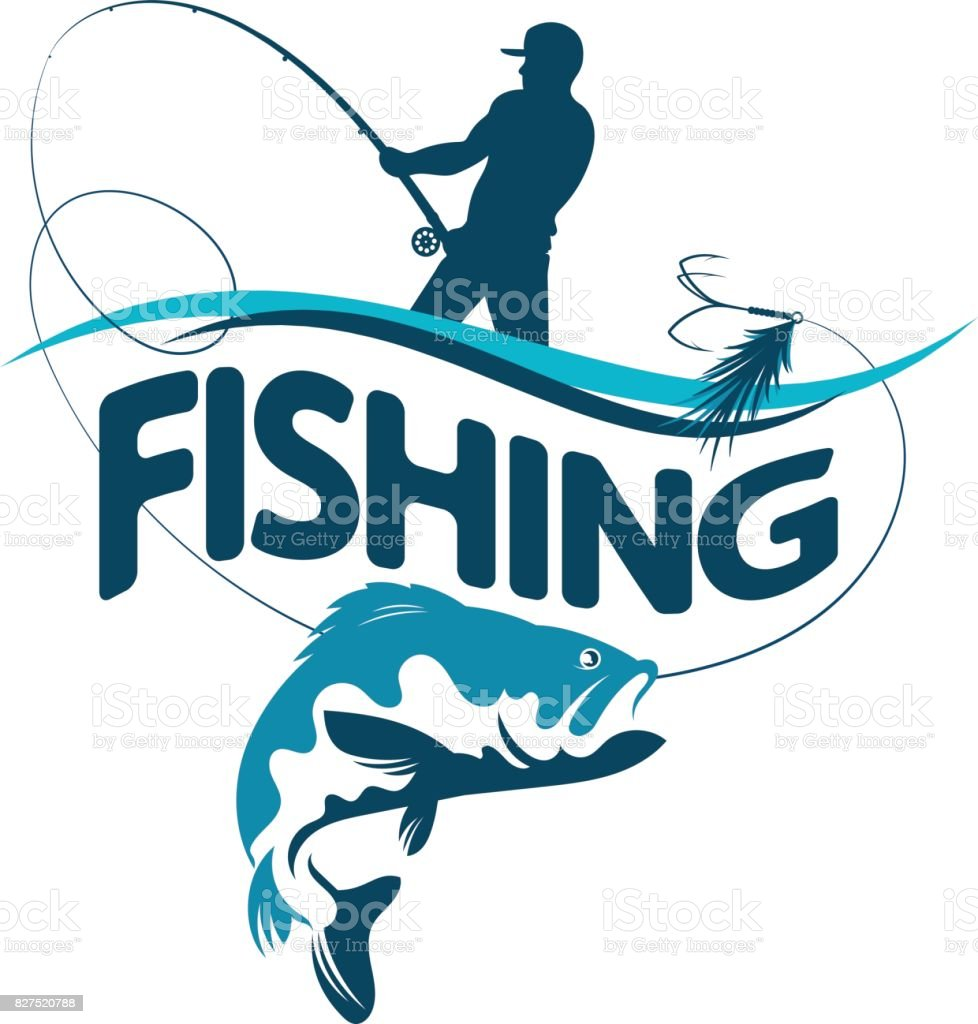 Fisherman draws fish silhouette vector art illustration