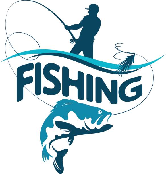 Fisherman draws fish silhouette Fisherman with a fishing rod pulls a fish silhouette vector freshwater fish stock illustrations