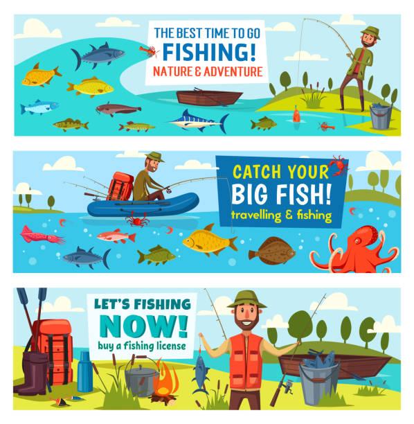 rybak, ryba, wędka, łódź i sprzęt - rybactwo stock illustrations
