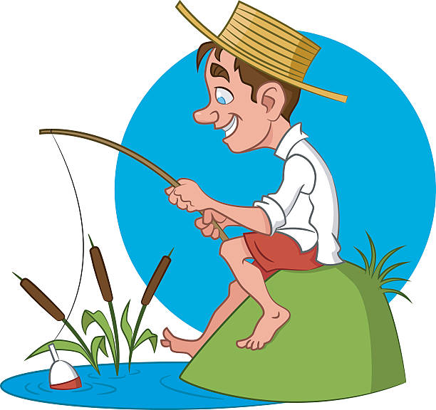 fisherman. Рыбак. vector art illustration
