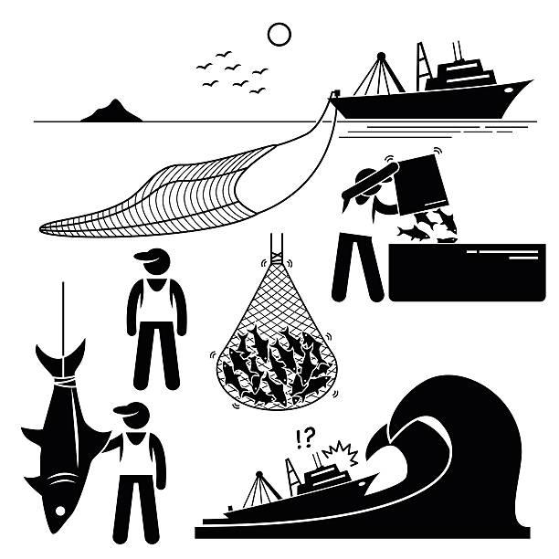 ilustrações de stock, clip art, desenhos animados e ícones de pescador indústria da pesca industrial pictograma - fishing boat