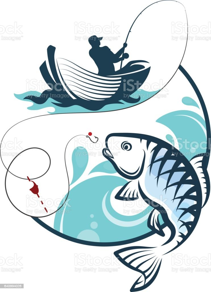 Fisherman fishing from a boat vector art illustration