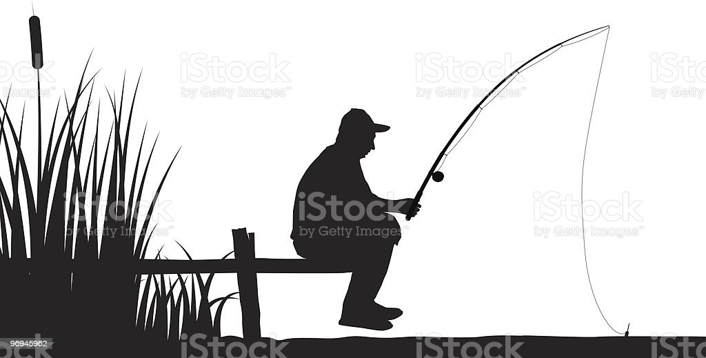 fisherman fishing on the lake vector art illustration