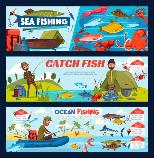 fischer, angelausrüstung, fischen und boot - seehecht stock-grafiken, -clipart, -cartoons und -symbole