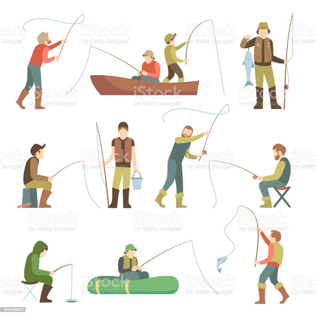Fisherman flat icons. Fishing people with fish and equipment vector set vector art illustration