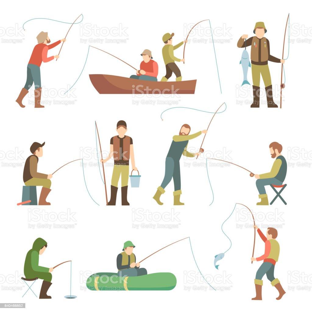 Icônes de plat de pêcheur. Les gens de pêche avec des poissons et des équipements vector ensemble - Illustration vectorielle