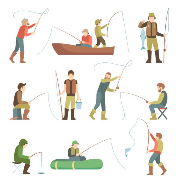 fisherman flat icons. fishing people with fish and equipment vector set - fishing stock illustrations