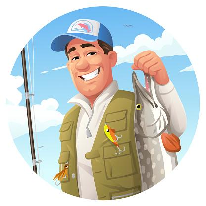 Fisherman Holding Pike- Logo