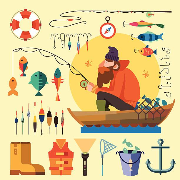 fischer in einem boot fischen - angelurlaub stock-grafiken, -clipart, -cartoons und -symbole