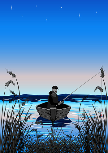 fisherman in a boat is fishing in the reeds
