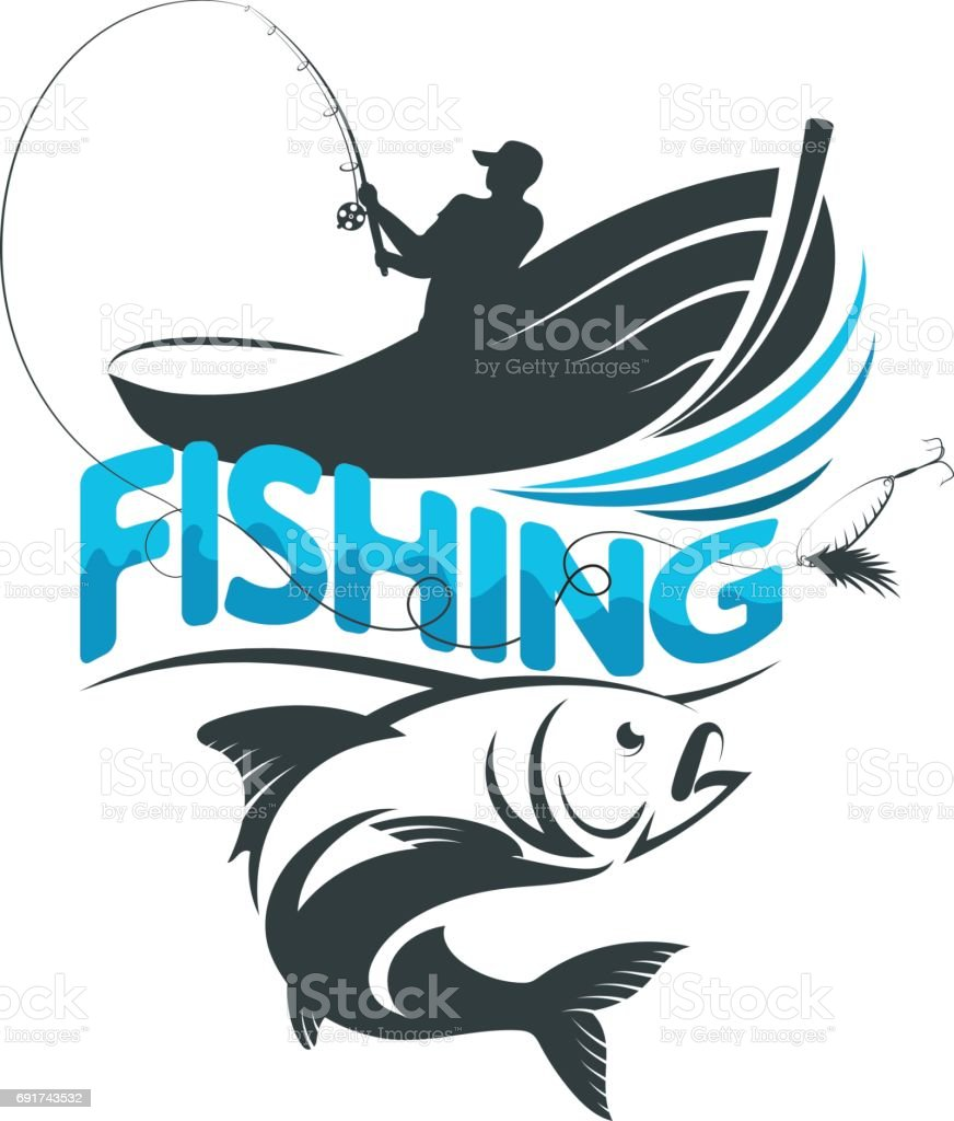 Fisherman in a boat on a fishing trip vector art illustration