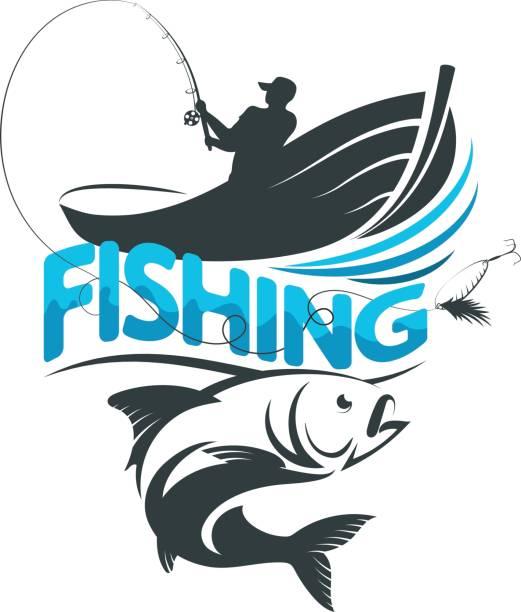 ilustraciones, imágenes clip art, dibujos animados e iconos de stock de pescador en un barco en un viaje de pesca - pesca