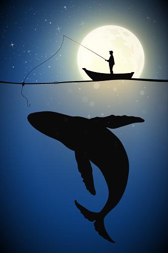 Fisherman in boat on moonlight night