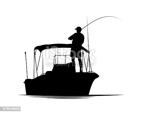Fisherman with fishing rod in motor boat vector silhouette illustration.