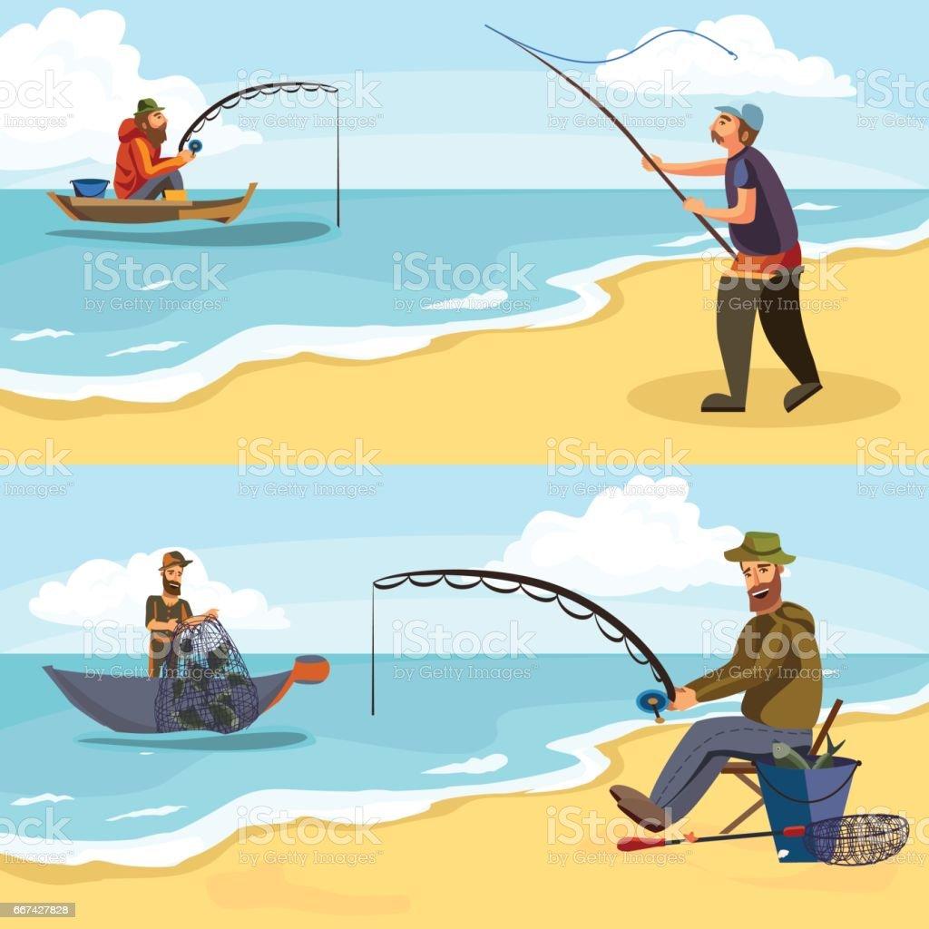 Ilustración de Pescador En Botas De Goma Lanza Una Caña De Pescar ...