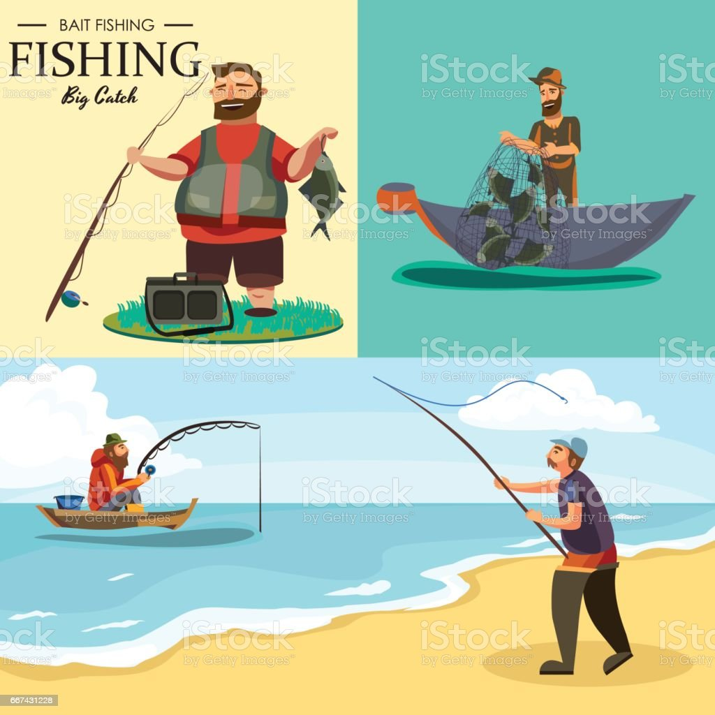 Fischer in Gummistiefeln wirft eine Angelrute mit einer Linie und gehäkelt ins Wasser zum Fliegenfischen, Charakter-Mann fängt Fisch stehend vor der Küste mit Spin-Urlaub-Konzept-Vektor-illustration – Vektorgrafik