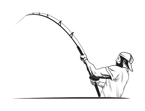 Fisherman in sport cap with fishing rod