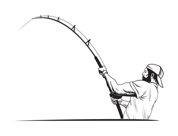 fischer in sport cap mit angelrute - angelurlaub stock-grafiken, -clipart, -cartoons und -symbole