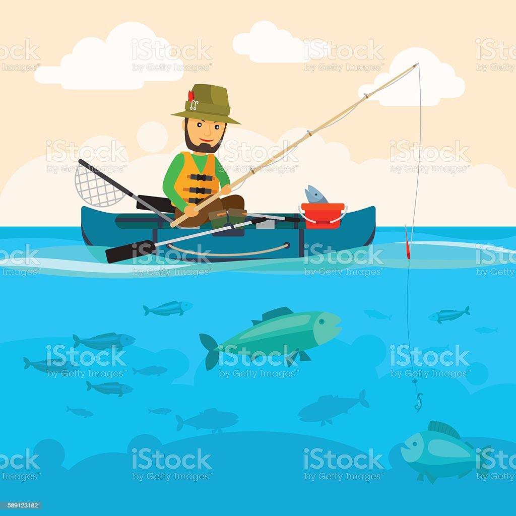 Fisherman on a boat vector illustration vector art illustration