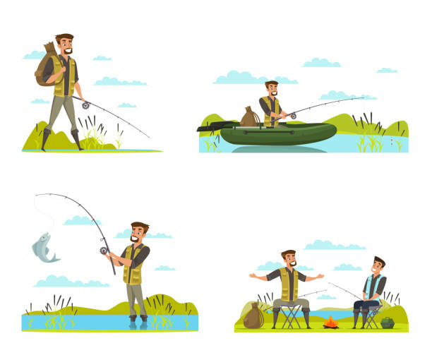 Fisherman on fishing vector illustrations set Fisherman on fishing vector illustrations set. Male friends at river bank isolated drawing. Flat man character catches fish from shore, waiting on rubber boat, shows catch, outdoor recreation freshwater fishing stock illustrations