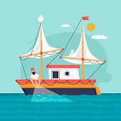 Fisherman pulls fishing net. Commercial fishing vessel. Flat design vector illustration.