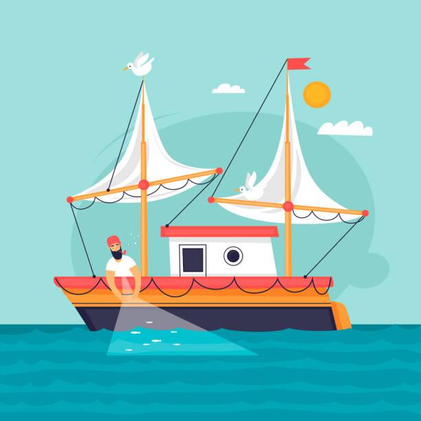 Fischer zieht Fischernetz. Kommerzielle Fischereifahrzeug. Flaches Design-Vektor-Illustration. – Vektorgrafik