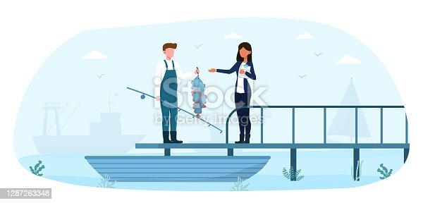 Fisherman showing fish haul to female customer on pier